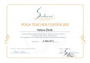 Helena Žitnik, učiteljica joge, Kranj, certifikat
