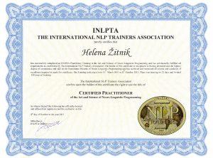 Helena Žitnik, NLP Praktik, certifikat