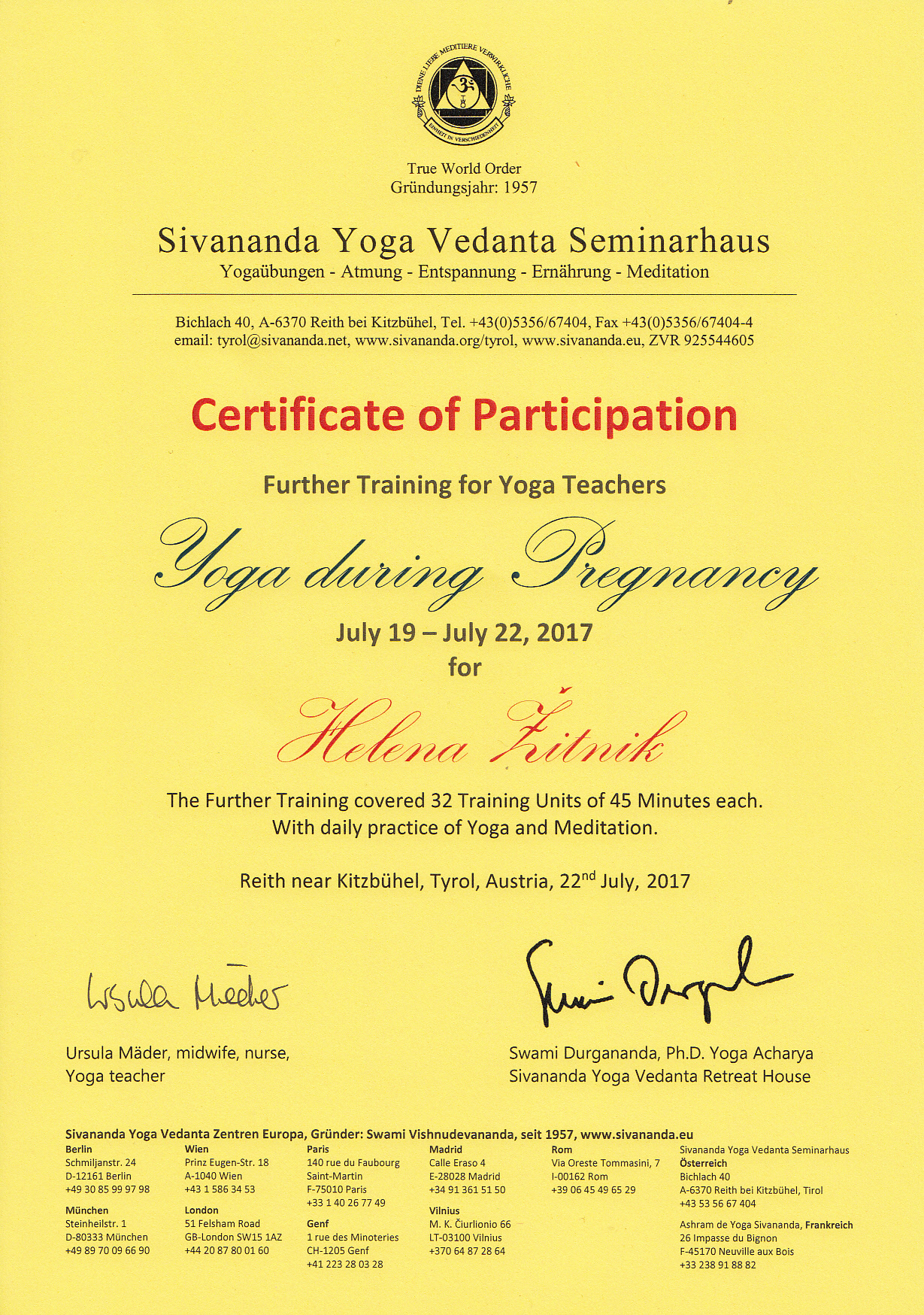 Certifikat Helena Žitnik joga za nosečnice